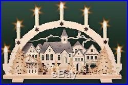 3D-Schwibbogen 7 Kerzen Adventszeit 53cm Erzgebirge Lichterbogen Advent Altstadt