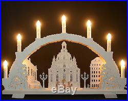 3D-Schwibbogen 7 Kerzen Frauenkirche Dresden 53cm Erzgebirge Lichterbogen Neu