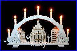 3D-Schwibbogen 7 Kerzen Frauenkirche Dresden excl. Schattiert 53cm Erzgebirge