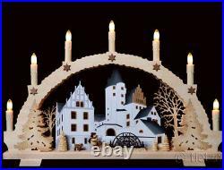 3D-Schwibbogen 7 Kerzen Neu 2020 Weihnachten am Schloß Schwarzenberg Erzgebirge