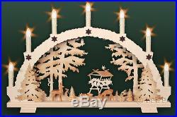 3D-Schwibbogen 7 Kerzen Rehe geschnitzt 53cm Erzgebirge Lichterbogen Wild Wald