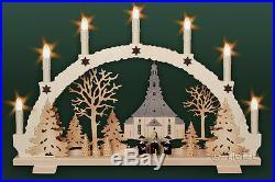 3D-Schwibbogen 7 Kerzen Seiffener Kirche Kurrende 53cm Erzgebirge Lichterbogen