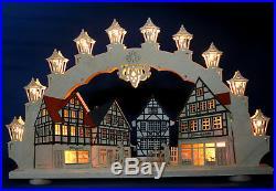 3D Schwibbogen Altstadt Fachwerk Lichterbogen 66cm Fachwerkhaus Erzgebirge