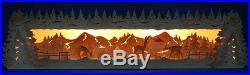3D Schwibbogen-Erhöhung Sockel 79cm Rehe geschnitzt Wildfütterung Erzgebirge
