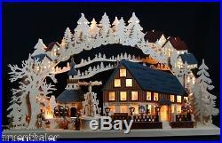3D-Schwibbogen Pyramidenhaus Seiffen 72x43cm Erzgebirge Lichterbogen Pyramide