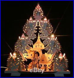 3D-Schwibbogen Seiffener Kirche Pyramide Erzgebirge Dreieck Tanne Weihnachten
