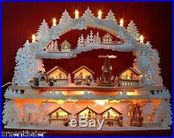 3D-Schwibbogen Weihnachtsmarkt mit 3 Buden & Pyramide Räucherhaus Erzgebirge