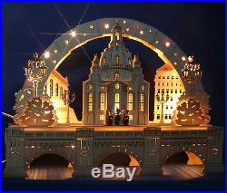 3D Schwibbogen excl. 52cm Frauenkirche Dresden + Sockel Augustusbrücke Erzgebirge