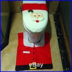 3PCS Fancy Santa Toilet Seat Cover & Rug Bathroom Set Christmas Xmas Decoration