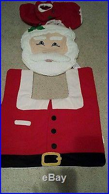 3PCS Santa Toilet Seat Cover and Rug Bathroom Set Christmas Xmas Decorations