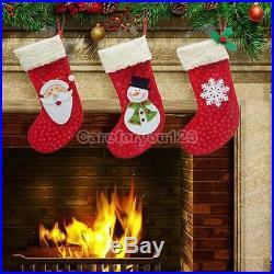 3Pcs Christmas Stocking Santa Claus Hanging Gift Bag Decoration Party Ornament