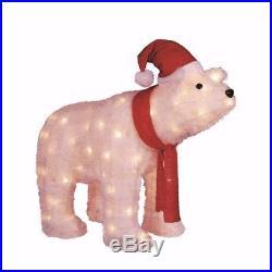 3 FT LED LIGHTED GLITTERED POLAR BEAR OUTDOOR CHRISTMAS Yard Decoration PRELIT