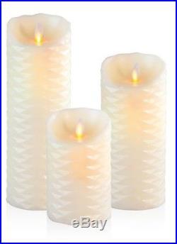 3 LED Echt Wachs Kerzen Set mit Timer Elfenbein Elektrische Kerzen Wachskerze