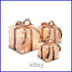 3 Outdoor Holiday Lighted Display Gift Boxes Yard Decor Christmas Present PreLit
