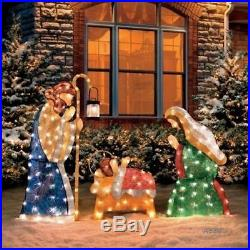 3 PC SET Lighted HOLY FAMILY NATIVITY SCENE Outdoor Christmas Yard Art Decor New