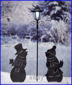 3-PC SNOWMAN SOLAR LAMP POST LIGHT YARD LAWN GARDEN OUTDOOR CHRISTMAS HOME DECOR