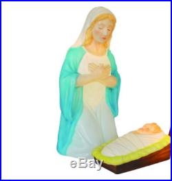 3 Pc Set Nativity Jesus Mary Joseph Blow Mold Lighted Outdoor Christmas Decor