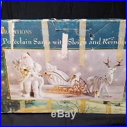 3 Pc Set Porcelain Santa Sleigh and Reindeer 12 Christmas Display Orig Box B401