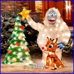 3 Piece Set Animated Rudolph Reindeer Display Lighted Outdoor Christmas Decor G