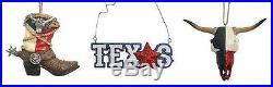 3-Piece Texas Christmas Ornament Set Boot Texas Longhorn Lone Star NIB Free Ship