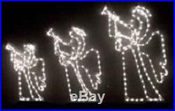 3 Piece Trumpeting Angels Xmas Outdoor LED Lighted Decoration Steel Wireframe