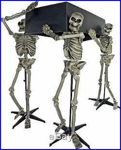 3 Skeletons Coffin Halloween Decoration Prop Scary Creepy Sculpture Party Indoor