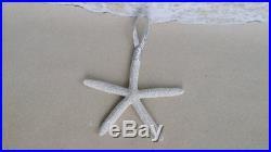 3 pc Silver Starfish Ornament Set Christmas Tree Holiday Beach Glitter Xmas