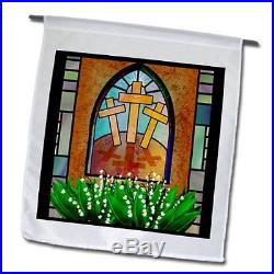 3dRose fl_11636_1 A Colorful Stained Glass Window of The Cross of Jesus at Easte