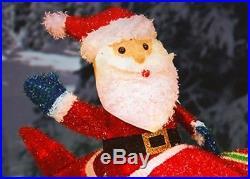 3d Santa Claus Waving In Propeller Airplane Lighted Tinsel Christmas Yard Decor
