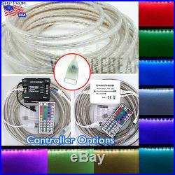 3ft-164ft 110V 3528 SMD RGB LED Colors Strip Rope Light Waterproof + Remote lot