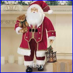 3ft Large Santa Traditional Red Velvet Fabric Father Christmas Decoration Figure