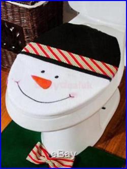 3pcs Christmas Decorations Happy Snowman Bathroom Toilet Seat Cover Rug