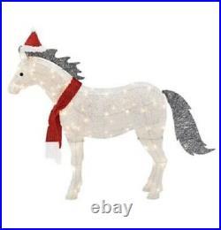 40 Christmas Gemmy Crystal Splendor Pony Wearing Santa Hat Lighted Yard Decor