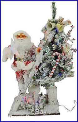 40 Pre Lit Flocked Christmas Tree With Santa Figure Multi LED Lights (FS001)