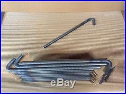 40 pack of 18 long unpainted hook steel stakes, anchors, pegs, spikes 62518BNP40