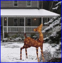 42 Lighted Golden Champagne Doe Deer Sculpture Outdoor Christmas Yard Decor