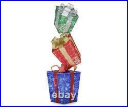 43 Lighted Gift Box Stack Sculpture Presents Outdoor Christmas Yard Decor