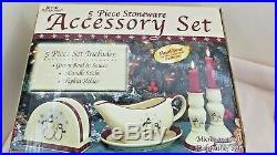 43 Piece Royal Seasons Christmas Stoneware Dishes Set Snowmen 8 settings boxed