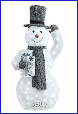 44 Lighted Faux Fur Snowman Sculpture Pre Lit Outdoor Christmas Decor Yard