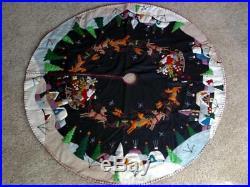 46 47 Hand made Wool SANTA SLEIGH REINDEER Scene CHRISTMAS TREE SKIRT