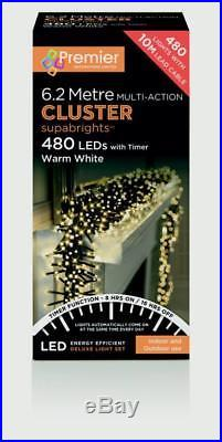 480 or 2000 LED Premier Cluster Christmas Tree Lights with Timer Warm White