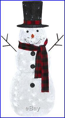 48H Glittering Outdoor Snowman Christmas Lights Sculpture Yard Lawn Decoration