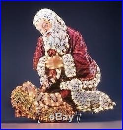 48 Lighted Kneeling Santa with Baby Jesus Holographic Christmas Yard Art