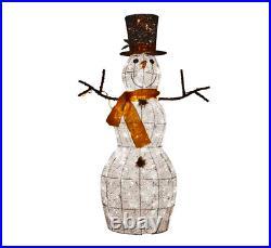 48 Pre Lit Twinkling Snowman Cotton Thread Gold Sash Christmas Yard Sculpture