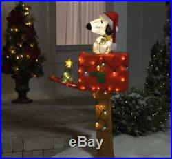 48in. LED MECHANICAL PRE-LIT CHRISTMAS HOLIDAY PEANUTS SNOOPY MAILBOX YARD DECOR