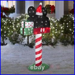 49 Mickey Mouse Christmas Mailbox Animated 3D Lighted Tinsel Sculpture Disney