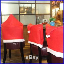 4Pcs Santa Red Hat Chair Covers Christmas Decor Dinner Chair Xmas Cap Gift