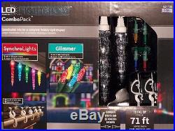 4 Box Gemmy LightShow LED Combo 2 Glimmer Lights & 3 Synchro Multi color Icicles