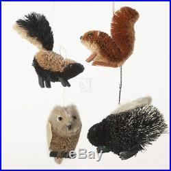 4 Buri Woodland Animal Ornament Set Of 4 Skunk Squirrel Porcupine Owl Christmas