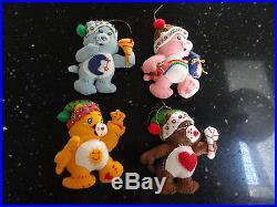 4 Care Bear Felt Ornaments Funshine Bedtime Tenderheart Cheerbear 4.5 Handmade